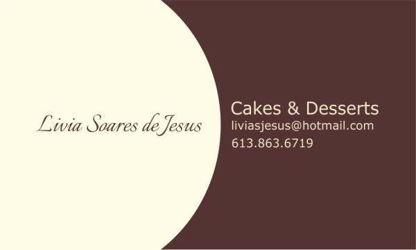Business Card for Livia Soares de Jesus Cakes and Desserts