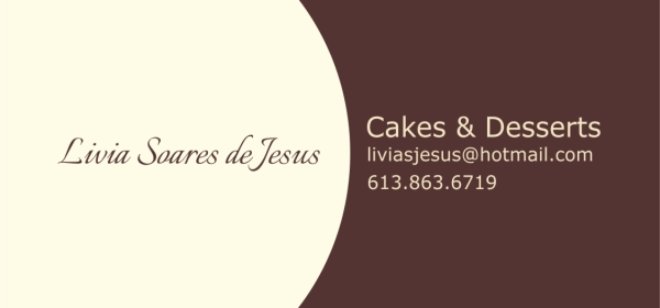 Business Card for Livia Soares de Jesus Cakes and Desserts