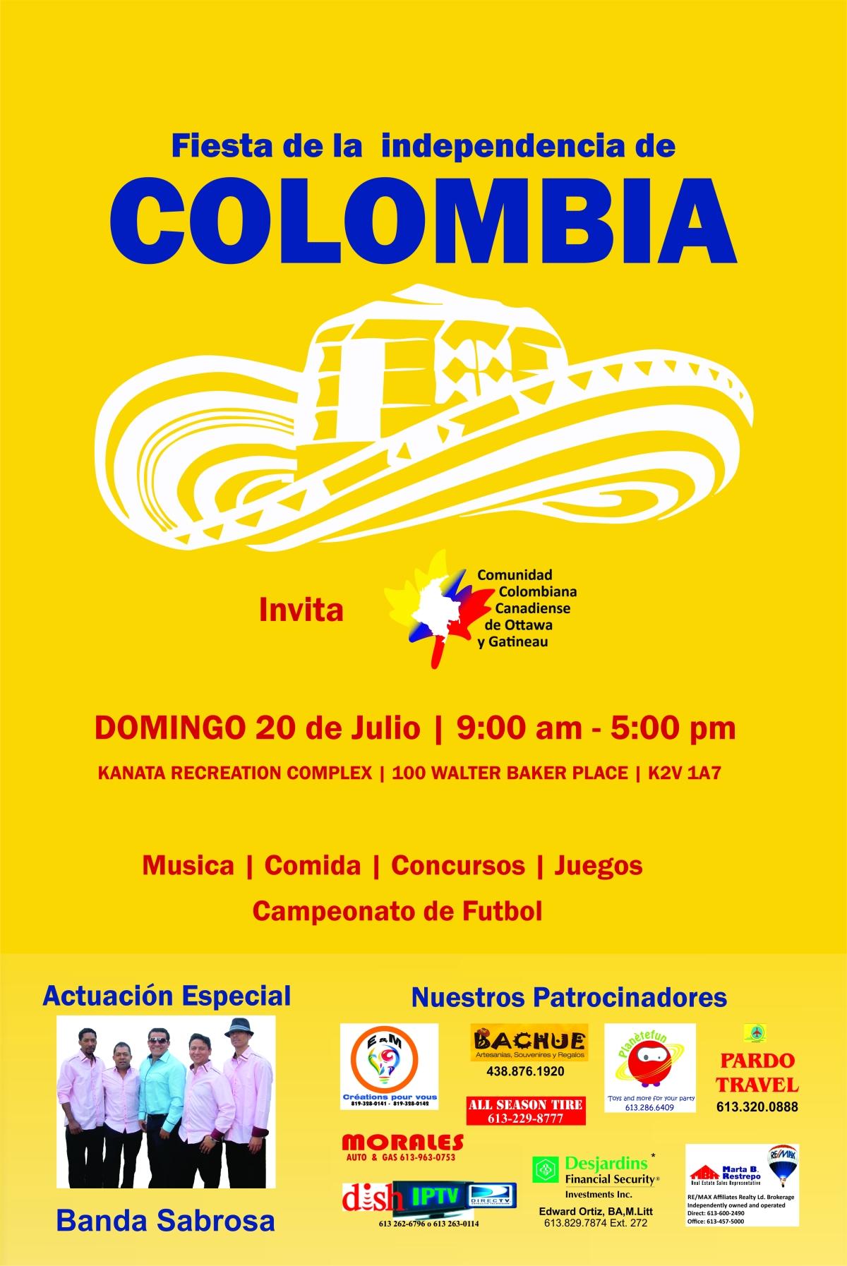 Afiche Fiesta de Independencia de Colombia 2014 para Asociación Colombiana de Ottawa yGatineau